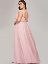 Plus Size Sleeveless Grecian Style Evening Dress-Pink 2