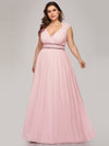 Plus Size Sleeveless Grecian Style Evening Dress-Pink 1
