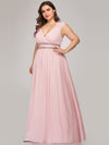 Plus Size Sleeveless Grecian Style Evening Dress-Pink 4
