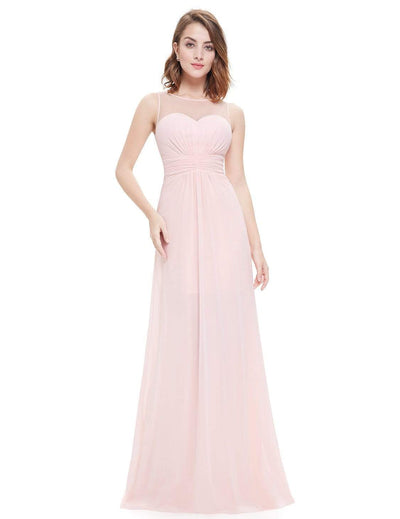 Empire Waist Long Chiffon Bridesmaid Dress