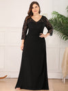 Lace Long Sleeve Floor Length Evening Gown-Black  6
