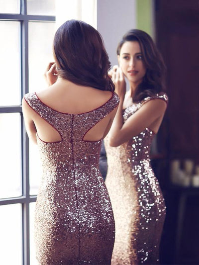 Floor Length Off Shoulder Sparkles Sequins Evening Gown