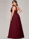 Chiffon One Shoulder Long Bridesmaid Dress-Burgundy 5