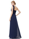 Chiffon One Shoulder Long Bridesmaid Dress-Navy Blue 2