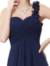 Chiffon One Shoulder Long Bridesmaid Dress-Navy Blue 3
