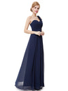 Chiffon One Shoulder Long Bridesmaid Dress-Navy Blue 1