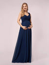 One Shoulder Chiffon Maternity Dresses-Navy Blue 4