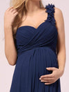 One Shoulder Chiffon Maternity Dresses-Navy Blue 5