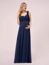 One Shoulder Chiffon Maternity Dresses-Navy Blue 1