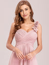 Chiffon One Shoulder Long Bridesmaid Dress-Pink 3
