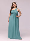 One Shoulder Evening Dress-Dusty Blue 5