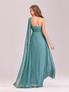 One Shoulder Evening Dress-Dusty Blue 2