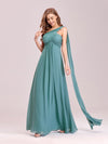 One Shoulder Evening Dress-Dusty Blue 1