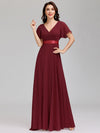 Long Empire Waist Evening Dress With Short Flutter Sleeves-Burgundy  1