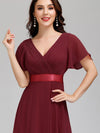Long Empire Waist Evening Dress With Short Flutter Sleeves-Burgundy  3