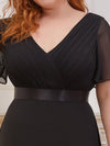 Plus Size Long Empire Waist Evening Dress With Short Flutter Sleeves-Black 5