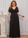 Plus Size Long Empire Waist Evening Dress With Short Flutter Sleeves-Black 1