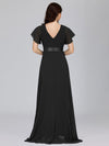 Long Empire Waist Evening Dress With Short Flutter Sleeves-Black 2