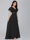 Long Empire Waist Evening Dress With Short Flutter Sleeves-Black 1