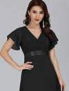 Long Empire Waist Evening Dress With Short Flutter Sleeves-Black 3