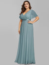 Plus Size Long Empire Waist Evening Dress With Short Flutter Sleeves-Dusty Blue 3