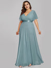 Long Empire Waist Evening Dress With Short Flutter Sleeves-Dusty Blue 6
