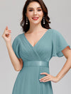 Long Empire Waist Evening Dress With Short Flutter Sleeves-Dusty Blue 3