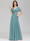 Long Empire Waist Evening Dress With Short Flutter Sleeves-Dusty Blue 1
