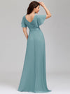 Long Empire Waist Evening Dress With Short Flutter Sleeves-Dusty Blue 2