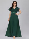Long Empire Waist Evening Dress With Short Flutter Sleeves-Dark Green  1