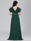 Long Empire Waist Evening Dress With Short Flutter Sleeves-Dark Green  2