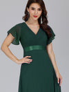 Long Empire Waist Evening Dress With Short Flutter Sleeves-Dark Green  3