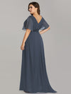 Long Empire Waist Evening Dress With Short Flutter Sleeves-Dusty Navy  10
