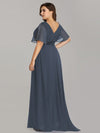 Plus Size Long Empire Waist Evening Dress With Short Flutter Sleeves-Dusty Navy 2