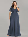 Plus Size Long Empire Waist Evening Dress With Short Flutter Sleeves-Dusty Navy 4
