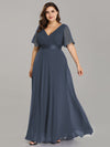 Plus Size Long Empire Waist Evening Dress With Short Flutter Sleeves-Dusty Navy  1