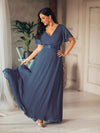 Long Empire Waist Evening Dress With Short Flutter Sleeves-Dusty Navy  1