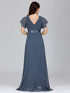 Long Empire Waist Evening Dress With Short Flutter Sleeves-Dusty Navy  7