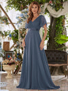 Long Empire Waist Evening Dress With Short Flutter Sleeves-Teal 1