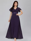 Long Empire Waist Evening Dress With Short Flutter Sleeves-Dark Purple  1