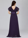 Long Empire Waist Evening Dress With Short Flutter Sleeves-Dark Purple  2