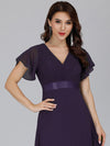 Long Empire Waist Evening Dress With Short Flutter Sleeves-Dark Purple  3