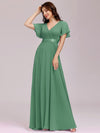 Long Empire Waist Evening Dress With Short Flutter Sleeves-Green Bean 3
