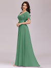 Long Empire Waist Evening Dress With Short Flutter Sleeves-Green Bean 4