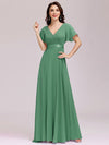Long Empire Waist Evening Dress With Short Flutter Sleeves-Green Bean 1