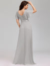 Long Empire Waist Evening Dress With Short Flutter Sleeves-Grey  2