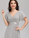 Long Empire Waist Evening Dress With Short Flutter Sleeves-Grey  3