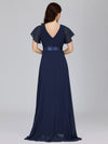 Long Empire Waist Evening Dress With Short Flutter Sleeves-Navy Blue  2