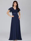 Long Empire Waist Evening Dress With Short Flutter Sleeves-Navy Blue  1