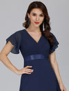 Long Empire Waist Evening Dress With Short Flutter Sleeves-Navy Blue  3